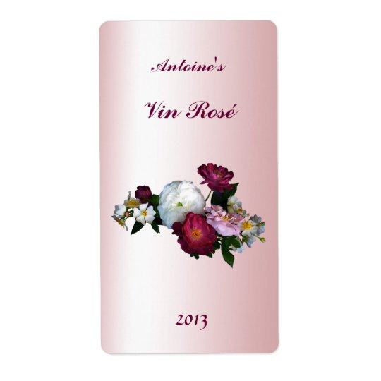 Old Fashioned Roses Floral Wine Label