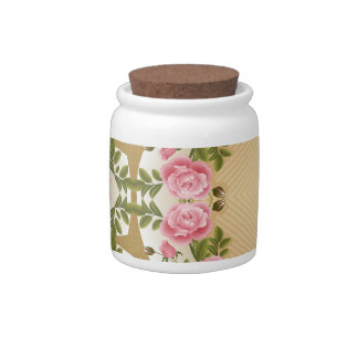 Old Fashioned Roses Golden Accents Candy Jars