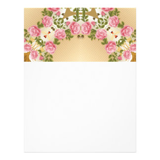 Old Fashioned Roses Golden Accents Letterhead