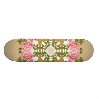 Old Fashioned Roses Golden Accents Skateboard