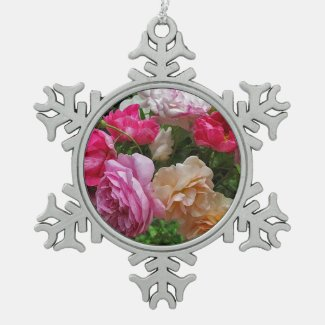 Old Fashioned Roses Snowflake Pewter Christmas Ornament