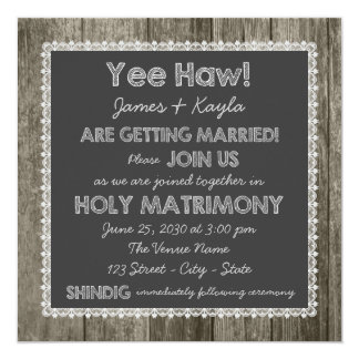 Exceptional Old Fashioned Rustic Country Chalkboard Wedding Card