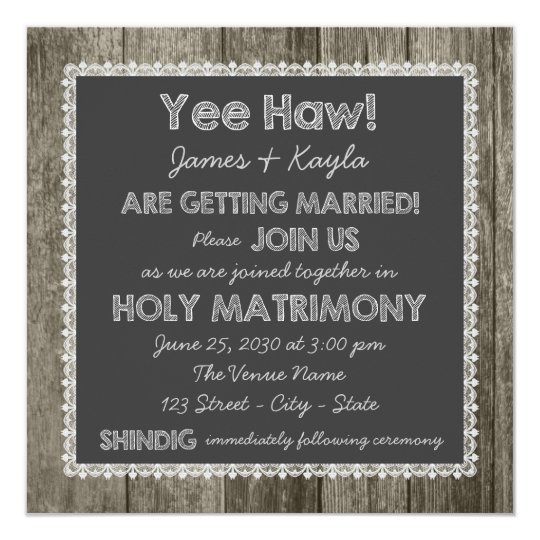 Wedding Invitations Old Fashioned: Old Fashioned Rustic Country Chalkboard Wedding Invitation