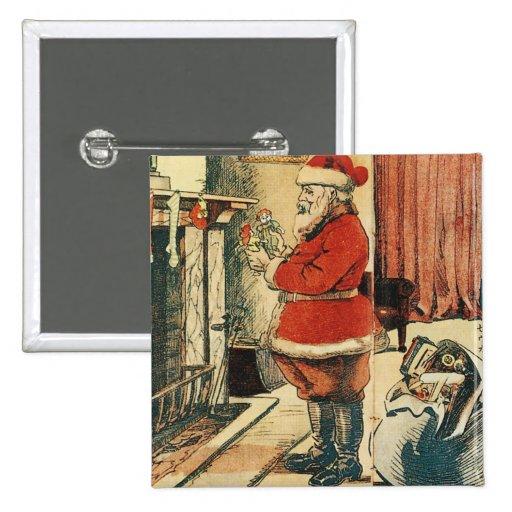 Old Fashioned Santa 2 Inch Square Button