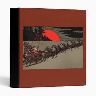 Old Fashioned Santa and Reindeer Sleigh 3 Ring Binder