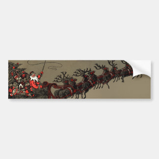 Old Fashioned Santa and Reindeer Sleigh Car Bumper Sticker