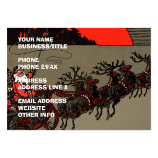 Old Fashioned Santa and Reindeer Sleigh Business Cards