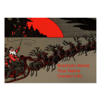 Old Fashioned Santa and Reindeer Sleigh Business Card Template