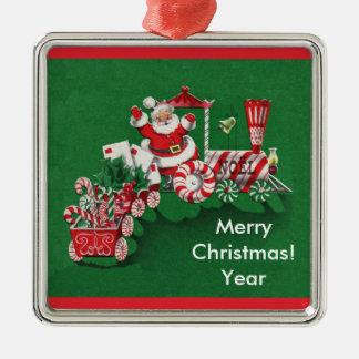 Old Fashioned Santa Candy Train Metal Ornament