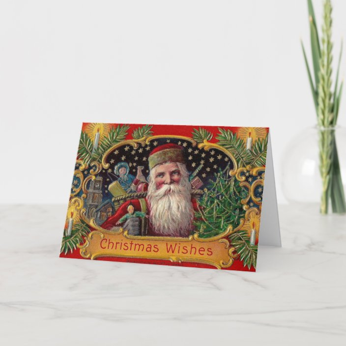 Old Fashioned Santa Christmas Card Zazzle Com