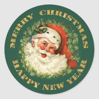 Old Fashioned Santa Claus Christmas Classic Round Sticker
