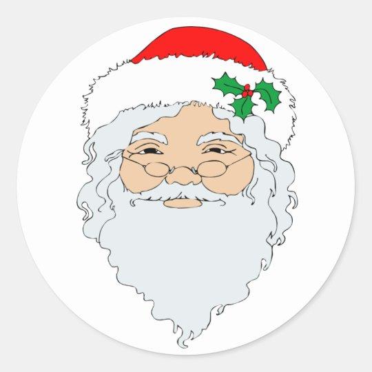 Old Fashioned Santa Claus Face Classic Round Sticker