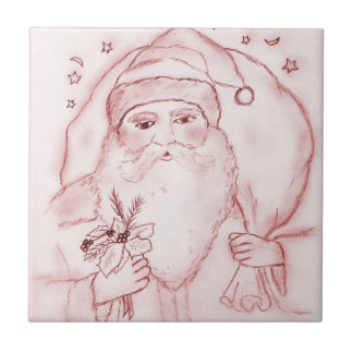 Old Fashioned Santa Claus in Red Ceramic Tile