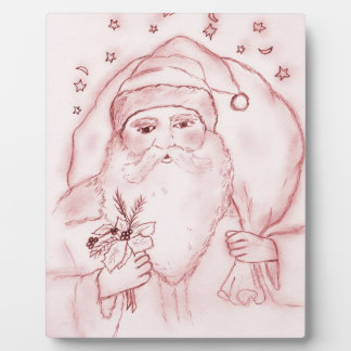 Old Fashioned Santa Claus in Red Plaque