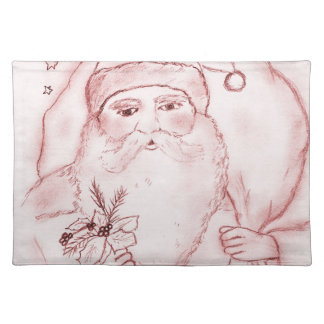 Old Fashioned Santa in Cranberry Cloth Placemat