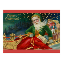 Old Fashioned Santa in Green and Fur in Sleigh Postcard