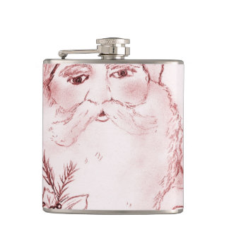 Old Fashioned Santa in Red Flasks