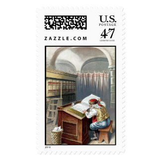 Old fashioned Santa making naughty / nice list Postage