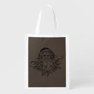 Old-Fashioned Santa Taupe Reusable Bag