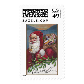 Old Fashioned Santa with Pipe Stamp