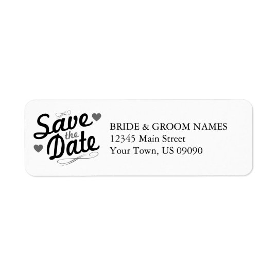 old fashioned save the date address labels black zazzle com