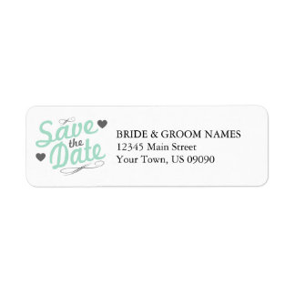 Old Fashioned Save The Date (Gray / Green) Label