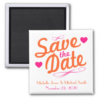 Old Fashioned Save The Date Magnet (Pink / Orange)