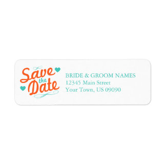 Old Fashioned Save The Date (Orange / Teal) Label