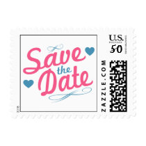 Old Fashioned Save The Date (Pink / Blue) Postage
