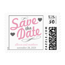 Old Fashioned Save The Date (Pink / Gray) Postage