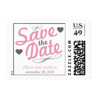 Old Fashioned Save The Date (Pink / Gray) Stamp