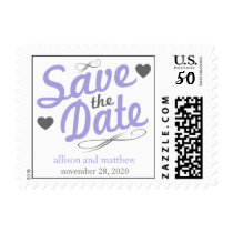 Old Fashioned Save The Date (Purple / Gray) Postage