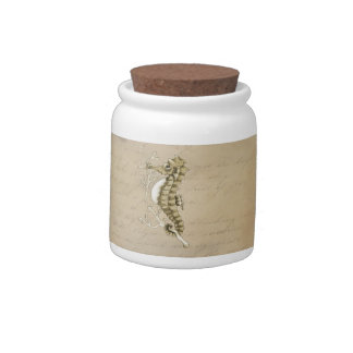 Old Fashioned Seahorse on Vintage Paper Background Candy Jar