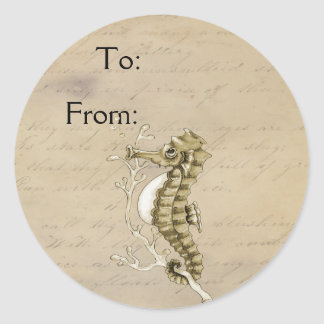 Old Fashioned Seahorse on Vintage Paper Background Classic Round Sticker