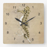 Old Fashioned Seahorse on Vintage Paper Background Wall Clock