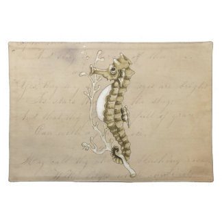 Old Fashioned Seahorse on Vintage Paper Background Cloth Placemat