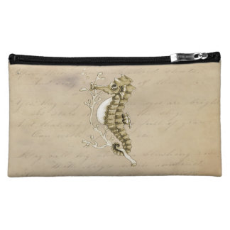 Old Fashioned Seahorse on Vintage Paper Background Cosmetic Bag