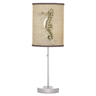 Old Fashioned Seahorse on Vintage Paper Background Desk Lamps