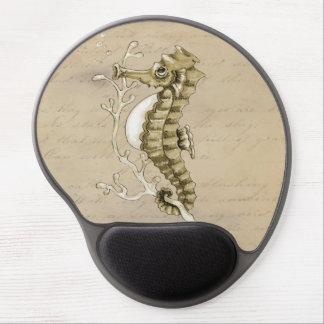 Old Fashioned Seahorse on Vintage Paper Background Gel Mouse Pad