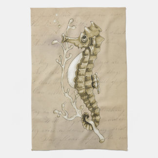 Old Fashioned Seahorse on Vintage Paper Background Hand Towels
