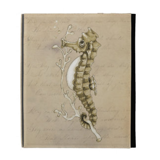 Old Fashioned Seahorse on Vintage Paper Background iPad Folio Covers