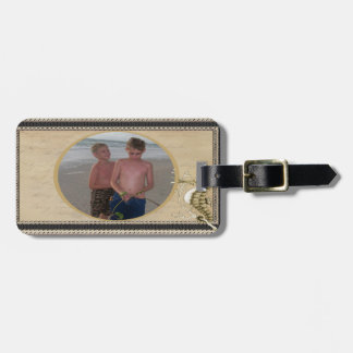 Old Fashioned Seahorse on Vintage Paper Background Luggage Tag
