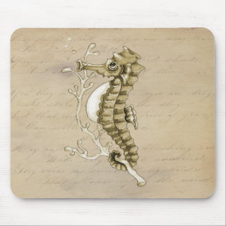 Old Fashioned Seahorse on Vintage Paper Background Mouse Pad