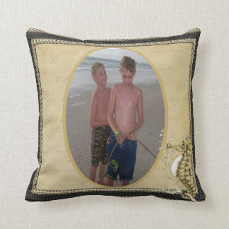 Old Fashioned Seahorse on Vintage Paper Background Pillows