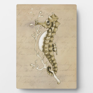 Old Fashioned Seahorse on Vintage Paper Background Plaque