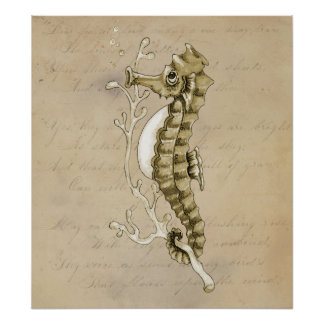 Old Fashioned Seahorse on Vintage Paper Background Poster