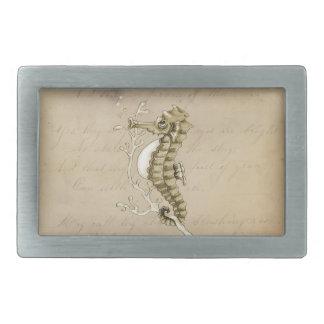 Old Fashioned Seahorse on Vintage Paper Background Rectangular Belt Buckle