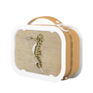 Old Fashioned Seahorse on Vintage Paper Background Replacement Plate