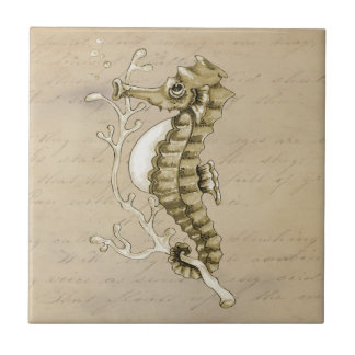 Old Fashioned Seahorse on Vintage Paper Background Small Square Tile