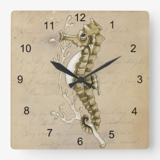 Old Fashioned Seahorse on Vintage Paper Background Square Wallclocks